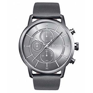 🆕 HUGO BOSS Chronograph Gray Leather Strap Watch